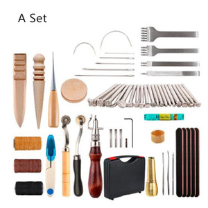 Professional DIY Leather Craft Tools Kit Hand Sewing Stitching Punch Carving Work Saddle Groover Tool Accessories Set