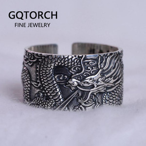 Real 999 Pure Silver Mens Biker Rings With Flying Dragon Vintage Punk Style Heart Sutra Engraved Buddhism Animal Jewelry 201112