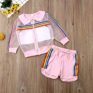 Children Summer Clothing 2019 Toddler Kids Baby Girl Mesh Coat+Vest+Pants Outfit 3Pcs Sunsuit Colorful Rainbow Striped Set