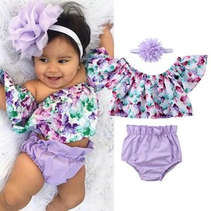New 0-24M Infant Newborn Baby Girl Clothes Set Kids Girls Off Shoulder Floral Tops Shorts Headband Outfits 2 Pieces Sets