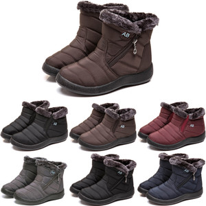 Snow boots men women high help thick bottom non-slip winter shoes female 2021 new flat bottom wild plus cotton shoes soft bottom