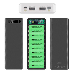 10*18650 Power Bank Case Dual USB Mobile Phone Quick Charge QC 3.0 PD DIY 18650 Battery Storage Box