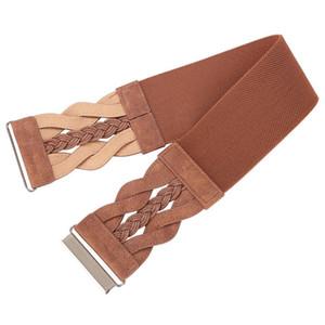 Fashion Designer Braided Polyurethane Leather Elastic Waist Belt Wide Belts Waistband Brown Belt for Women Ladies 2021