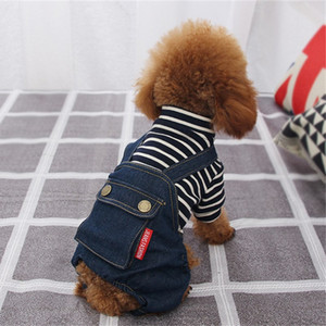 Pet Clothes Designer Dog Clothes for Small Dogs Cool Jeans Jacket for French Bulldog Denim Coat Dog Outfit for Chihuahua