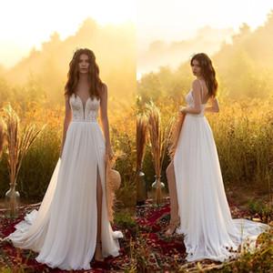 2021 Bohemia Wedding Dresses Spaghetti Straps Split Lace Chiffon Bridal Gowns Custom Made Backless Sweep Train A Line Wedding Dress