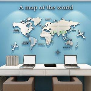 النسخة الأوروبية خريطة العالم الاكريليك 3D الجدار ملصق لالمعيشة مكتب غرفة ديكور المنزل خريطة العالم شارات الجدار جدارية لغرفة الاطفال 1007
