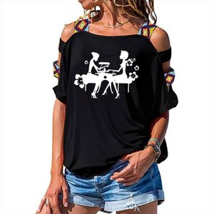 New Arrival Letter Women Tshirt Manicures Salon Print Cotton T Shirt Tee Short Sleeve Sexy Hollow Out Shoulder Tops