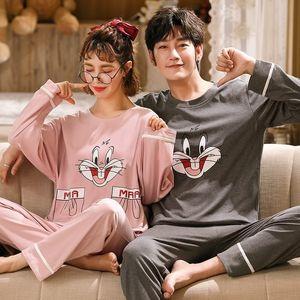 FOPLY casal pijama conjunto 100% algodão homewear estilo fresco manga comprida sleepwear novo outono pj set para amante pijamas mujer terno 201114