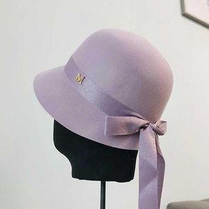 Wolle Fibonacci Winter-Filz Fedoras-Hut für Frauen-elegante Cap Lila Bogen Locken Birm Damen Cloche Hüte Floppy Bowler Caps