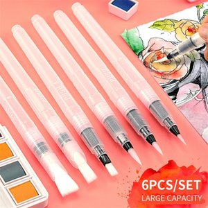 Superior 6Pcs set Water Brush Large Capacity Barrel Water Color Paint Brush Set Soft Painting Brush For Painting Art Supplies 201226