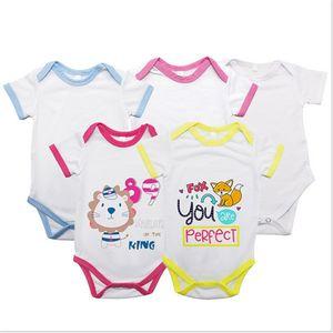 0-12 meses bebê recém-nascido macacãozinho sublimação em branco Transferência Térmica Calças Jumpsuit Shorts manga curta Bodysuit Calor Imprimir Outfits F102205
