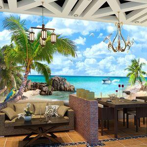 Mediterranean Beach Seascape Fotoğraf Duvar kağıdı Restoran Salon Backdrop Duvar Resmi 3D Olmayan Dokuma Ev Dekorasyonu Papel De Parede