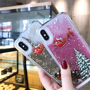 Glitter Stars Quicksand Christmas Tree Santa Claus Phone Case For iphone X 5 8 6S 7 Plus 11 12 Pro Max Back Cover UPS