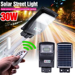 Waterproof Outdoor Wall Street Light 30W Solar Powered Radar Motion+Light Remote Control for Garden Yard Street Flood Lamp