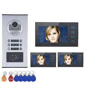 "Touch Button 7 ""3/4/5/6 شقة / الأسرة فيديو باب الهاتف إنترفون نظام RFID IR-CUT HD 1000TVL كاميرا مع 6 Button1"
