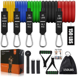 Fitnesswiderstandsbänder 150 lbs mit Türanker Muskulatur-Trainingsgummi-Röhren-Band-elastisches Pull-Seil Spannseil-Gym-Ausrüstung