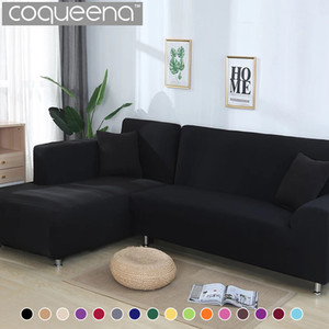 2 pieces Covers for Corner Sofa Living Room Universal Stretch Elastic L Shaped Sofa Cover Chaise Longue Covers Solid Color 201123