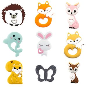 Baby Teething Toy 5PC Silicone Rodents Teether Rabbit Animals Fox Chew Biter Silicone Beads DIY Nursing Accessories Gift Toys 201020