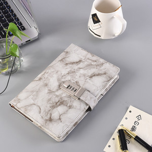 A5 Marble Texture Notebook with Password Lock Leather Notepad Agenda Diary Planner Agenda School Stationery Gift HHA3273