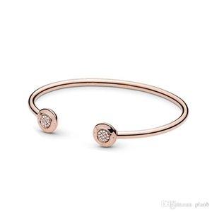 Rose gold Signature Open Bangle Bracelet Original Box for Pandora 925 Sterling Silver Cuff Set Women