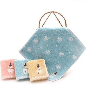 Boy Girl Cotton Washcloths Newborn Stuff Bath Shower Wash Wipes Cloths Baby Bath Towels Cute Snowman Snowflake Pattern Towels 201019