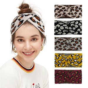 New style Retro Knitted Wool Leopard Cross Hair Band Autumn and Winter Wide Elastic Headband Band Band T3I51284