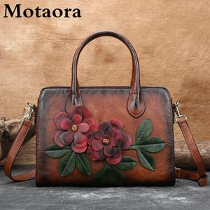 Motaora bolsa de mujer Nuevo retro mano mano hecha a mano de cuero genuino bolsas de hombro en relieve para las mujeres Bolsa de mensajero suave grande hembra C0121