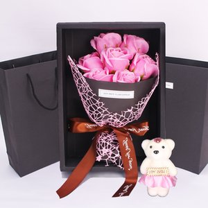 7 Roses Soap Flower Gift Box Small Bouquet Valentines Day Event Gift Christmas Gifts Present Cute Decorative Flowers