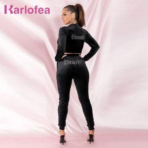 Karlofea Kadife Activewear Kırpma Ceket Uzun Pantolon 2 Parça Kış Kıyafetleri Diamante Rhinestones Süslenmiş Rahat Eşofman Yeni LJ201118