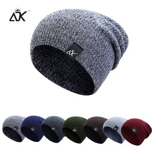 Mixed Color Baggy Beanies Men Winter Women's Outdoor Bonnet Skiing Female Soft Acrylic Slouchy Knitted Hat For Boys