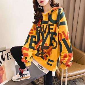 Plus Size Hoodies Women Printed Oversize Plus Velvet Thick Harajuku Streetwear Womens Sweatshirt All-match Daily Casual Fashion Y1109