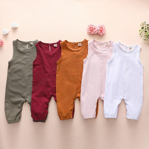kids clothes girls boys Sleeveless solid color romper newborn infant Jumpsuits 2021 Summer fashion baby Climbing clothes
