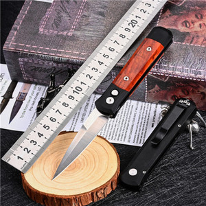 1Pcs New AUTO Tactical Folding Knife 154CM Satin Blade 6061-T   Rosewood Handle EDC Pocket Knives With Retail Box