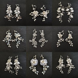 new Handmade Rhinestones Crystals Pearls Clip On Ear Pin Wedding Dangle Earrings Bridal Chandelier Earrings Women Jewelry