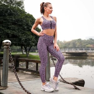 Leopard Sports Bra and Leggings Set Yoga Gym Clothing Fitness Workout Outfits for Women Athletic Women's Sportswear Suit