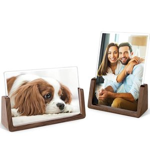 4X6 Wood Photo Picture Frame 2 Pack - Rustic Wooden Picture Frame with Walnut Wood Base For Tabletop Or Desktop Display