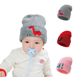 2020 New embroidered dinosaur knitted children's hat, baby warm lovely soft hat 5 colors optional Free DHL