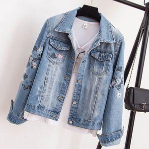 Plus Size Denim coats Women Boyfriend winter Jean Coats Streetwear Vintage embroidery elegant jeans jacket women clothes 2020 J0112