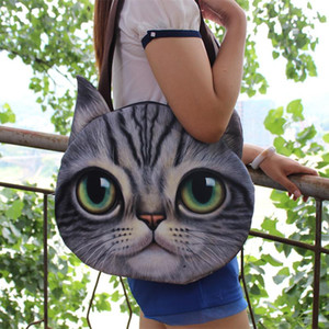 New Big Size Personality Cartoon Women Storage Bag 3D Cute Animal Cat Dog Head Shoulder Big Capacity Handbags With Canvas Belt