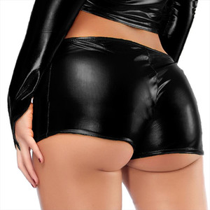 Women Shiny Leather Shorts Micro Boy Shorts Casual Shorts Dance Lingerie Bronzing Ladies Boxer Hot Sexy Fashion