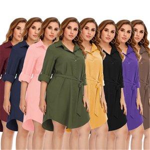 Ladies Solid Color Dress Fashion Trend Long Sleeve Button Lapel Shirt Short Skirt Designer Female Autumn Belt Loose Casual Plus Size Dress