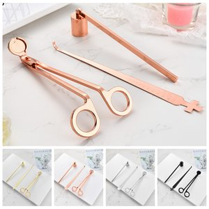 4styles Candle Accessory 3pcs Set Stainless Steel Bell Snuffers Candle Wick Trimmer Candles Wick Dipper Candles Scissors Cutter Tool CYF4542