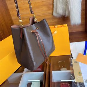 Diseñador de las mujeres bolsos de hombro Luxurys NEONOE MM Bucket el cuero auténtico espacio Recorte del bolso de Brown Flores Señora Bolsos grande con la caja