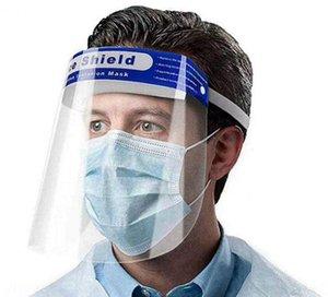 Face shield mask Anti-fog Isolation Full Protective masks with Elastic band Sponge headband HD Transparent PET Designer Masks 300pcs