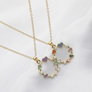 Hot Sale Womens Best Holiday Gift Necklace Gold Plated Chain Colorful Enamel Heart Circle Pendant Necklace