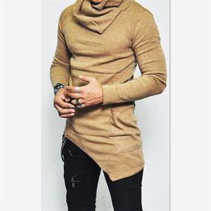 Felpe bordo irregolare tasca maniche lunghe Felpa Abbigliamento Uomo Autunno Turtleneck felpa uomo Tops Plus Size