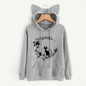 Cat Sweatshirts Women Hoodies Warm Pullovers Tops With Cat Ear Harajuku Hooded Girls Teens Cute Kawaii Hooded Sweatshirts New