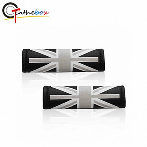 2PCS Universal Leather Union Jack UK Flag Pattern Car Safety Comfort Seat Belt Shoulder Pad Covers For Mini Cooper Car Styling mHcZ#