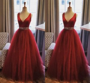 Elegant Burgundy A Line Evening Dresses V Neck Sleeveless Floor Length Tulle Beads 2021 Prom Gowns
