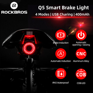 Rockbros Bisiklet Akıllı Fren Algılama Işık Otomatik Başlat / Durdur IPX6 Su Geçirmez LED Şarj Bisiklet Arka Bisiklet Aksesuarları